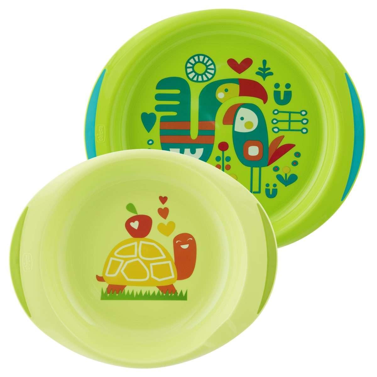 Chicco Jídelní sada - talíř,miska 12m+, zelená 2 ks