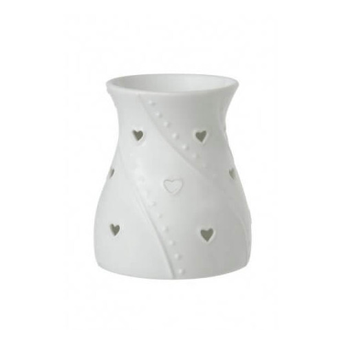 Yankee Candle Keramická aromalampa pro vonné vosky bílá White Hearts 1 ks