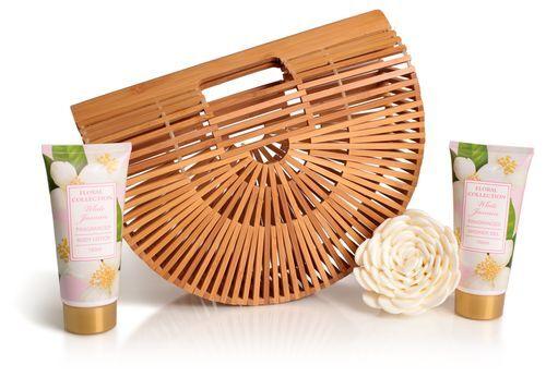 Lady Cotton Sada tělové kosmetiky jasmín v bambusovém košíku