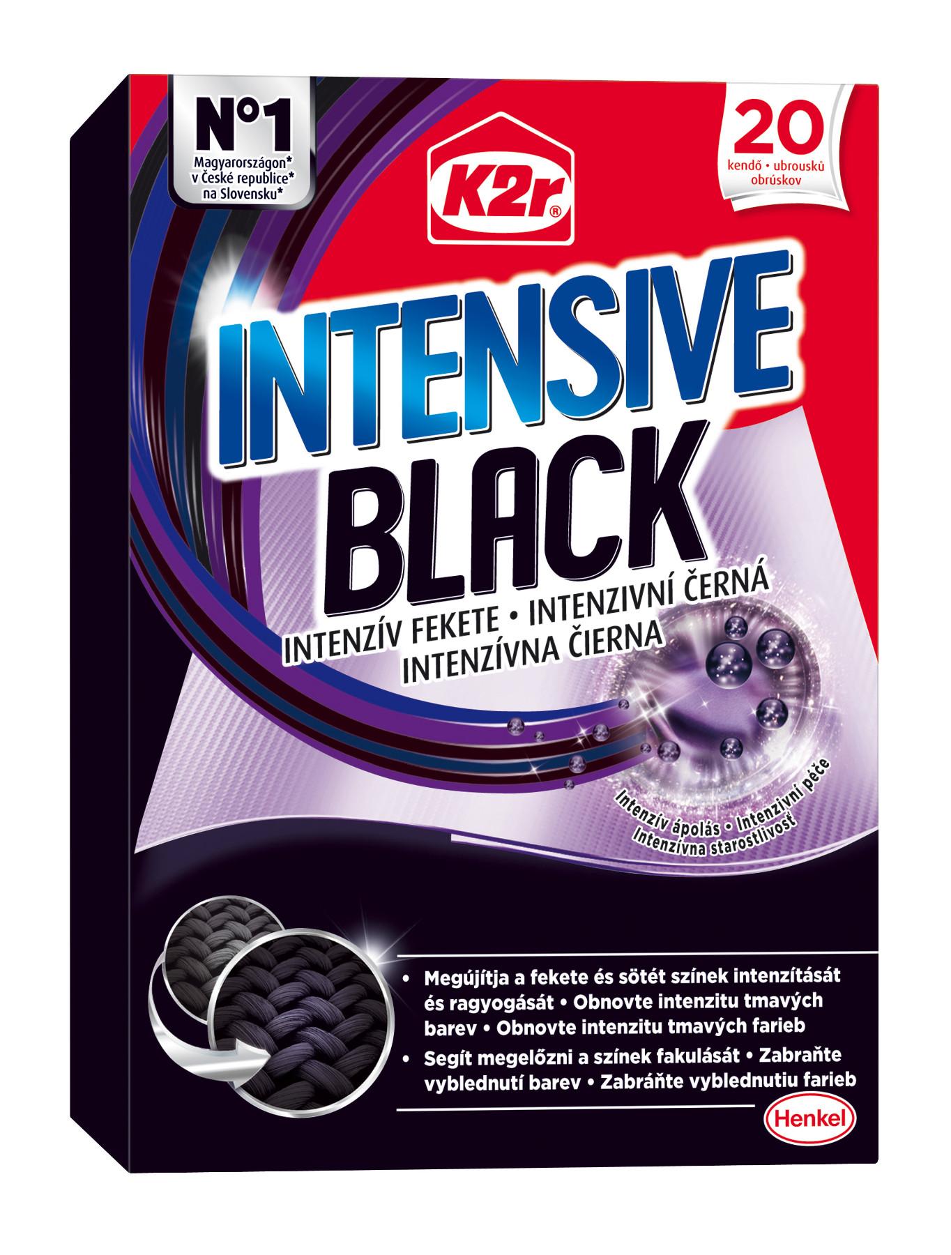 K2r Intensive Black prací ubrousky 20 ks/bal.