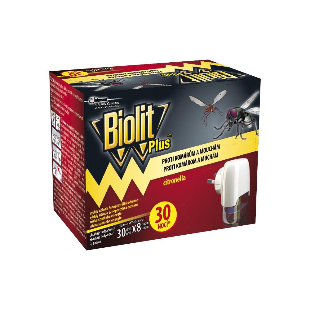 Biolit Plus elektrický odpařovač proti komárům a mouchám citronella, 30 nocí 31 ml