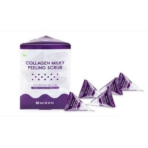 Mizon Jemný pleťový peeling s mléčným proteinem a mořským kolagenem (Collagen Milky Peeling Scrub) 24 x 7 g