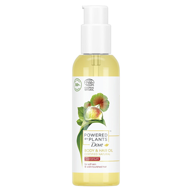 Dove Olej na vlasy a tělo Pelargonie Powered by Plants Geranium (Body and Hair Oil) 100 ml