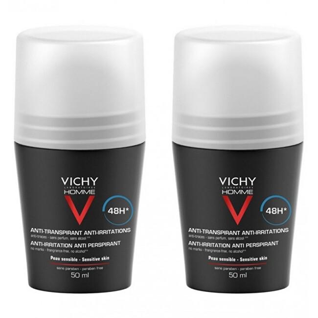 Vichy Deodorant pro citlivou pokožku Homme 48H Deo roll-on (Anti-Transpirant Extra Sensitive) 2 x 50 ml