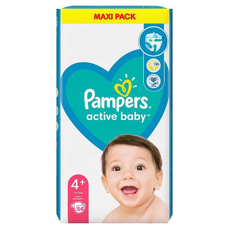 Pampers Active Baby Value Pack dětské jednorázové pleny Velikost 4+ 10kg-15kg 54 ks