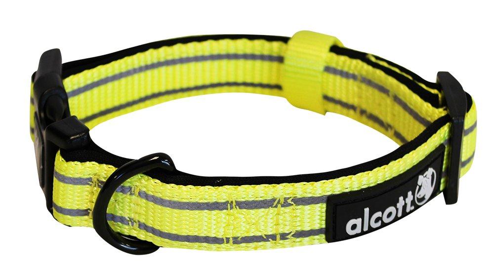 Alcott reflexní obojek pro psy, žlutý, velikost M