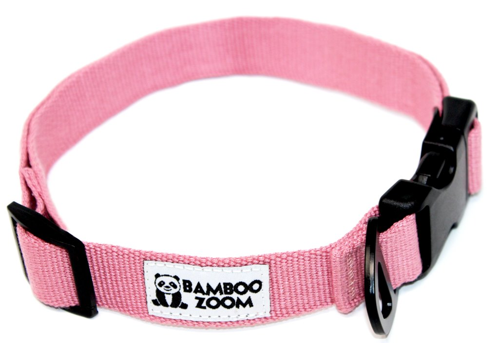 Bamboo Zoom Obojek pro psy růžový S