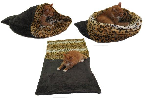Marysa pelíšek 3v1 pro kočky, tmavě šedý/leopard, velikost XL
