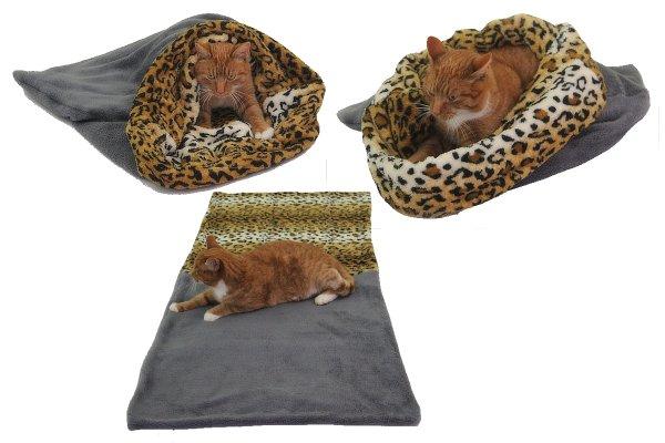 Marysa pelíšek 3v1 pro kočky, šedý/leopard, velikost XL