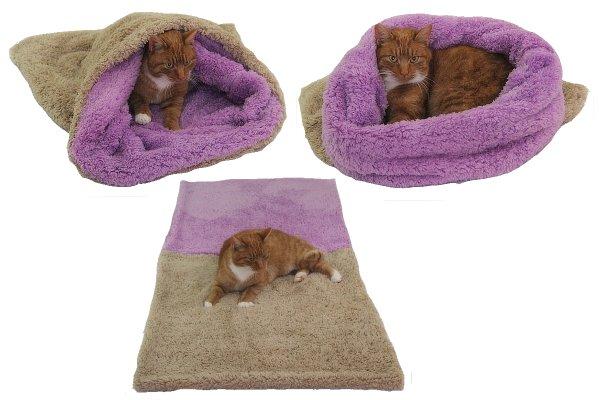 Marysa pelíšek 3v1 pro kočky, DE LUXE, béžový/fialový, velikost XL