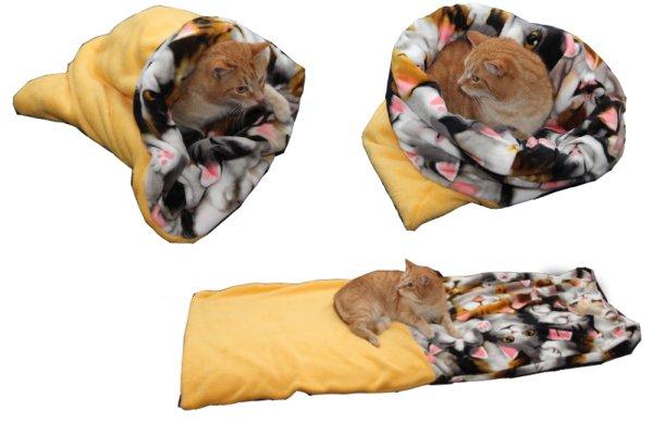 Marysa pelíšek 3v1 pro kočky, žlutý/kočky, velikost XL