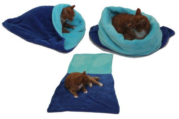 Marysa pelíšek 3v1 pro kočky, modrý/tyrkysový, velikost XL