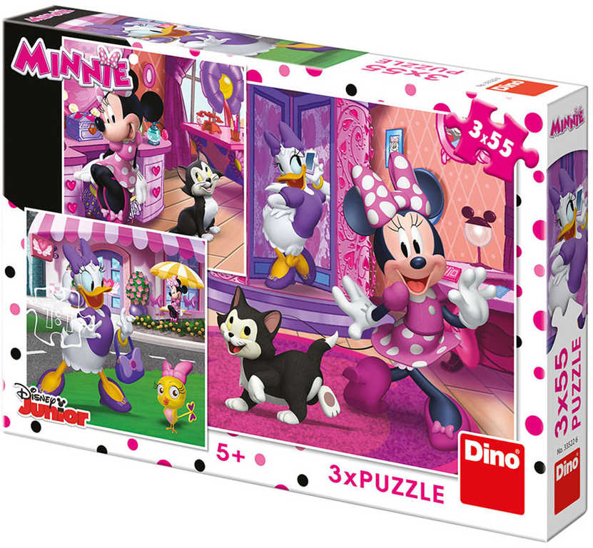 DINO Puzzle 3x55 dílků Disney Den s Minnie Mouse skládačka 18x18cm 3v1