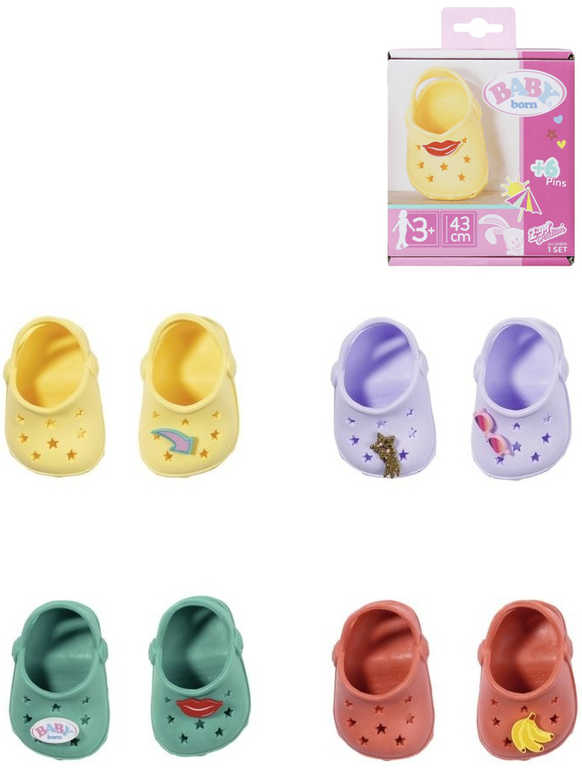 ZAPF BABY BORN Sandálky gumové kroksy 1 pár pro panenku 4 barvy