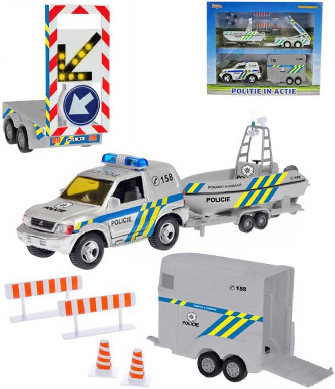 Auto policie CZ set s vozíky a dopravním značením na baterie Světlo