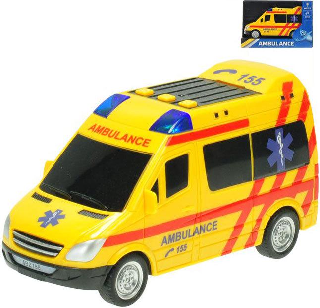 Auto ambulance 18cm sanitka na baterie na setrvačník Světlo Zvuk v krabici