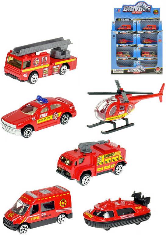 Vozidlo hasičské červené 7-8cm kovové autíčko 6 druhů v krabičce