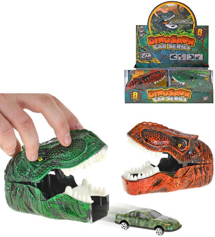 Herní set dinosauří hlava + vystřelovací autíčko kovové 7cm 2 barvy