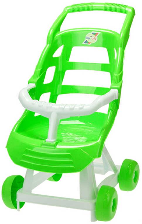 Baby kočárek dětský sportovní Zelený se zábranou pro panenku miminko