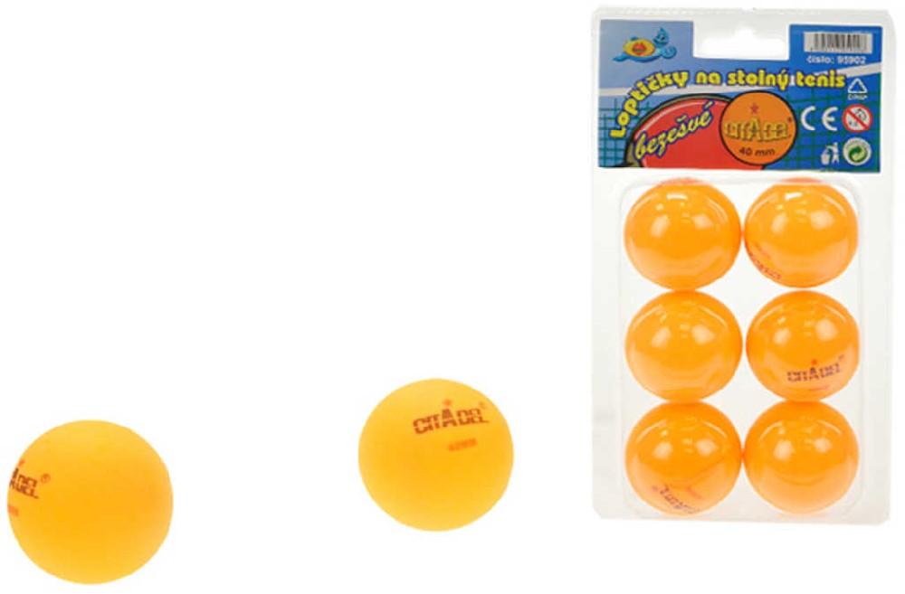 Míčky na stolní tenis (ping pong) 40mm oranžové bezešvé set 6ks