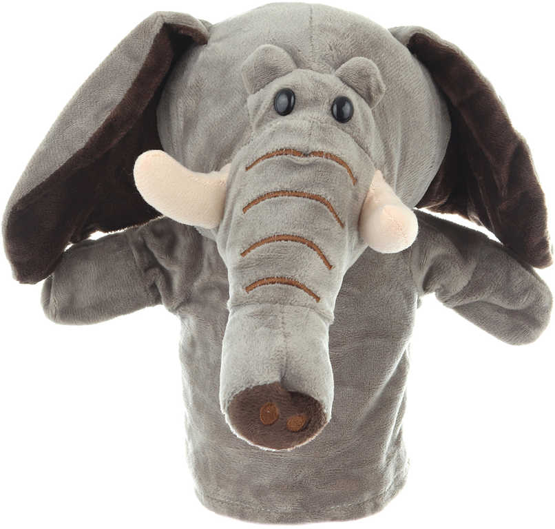 PLYŠ Maňásek zvířátko slon 24cm na ruku *PLYŠOVÉ HRAČKY*