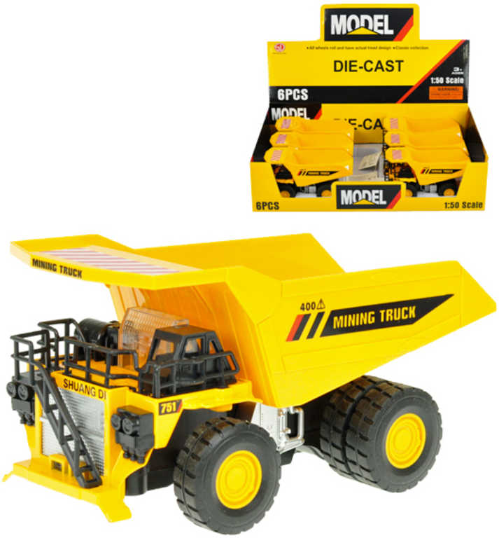 Auto nákladní kovové 16cm žlutá sklápěčka 1:50 na baterie světlo zvuk