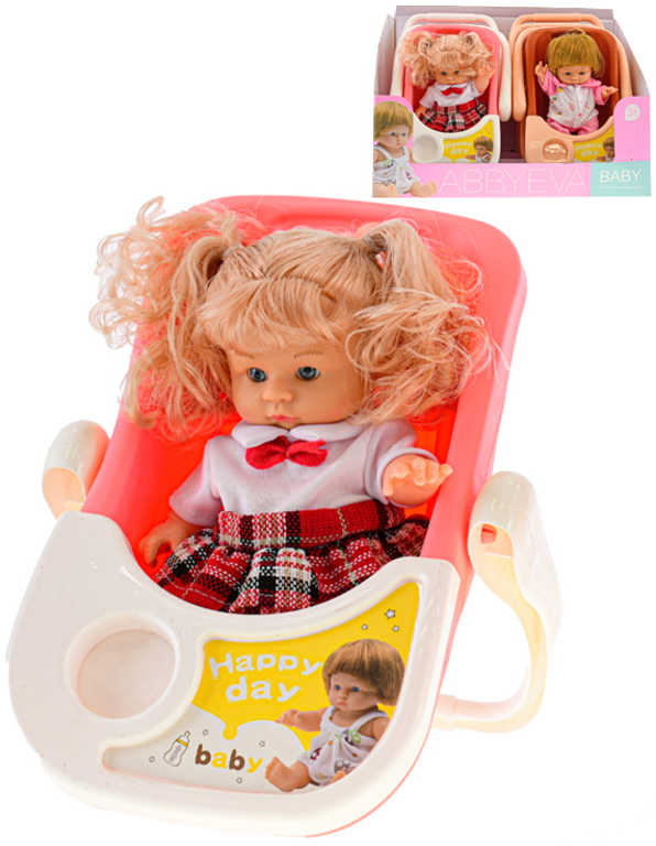 Set panenka miminko 20cm v sedačce 2 druhy plast