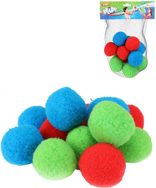 Vodní mini bomby míčky textilní 7cm do vody set 12ks v síťce