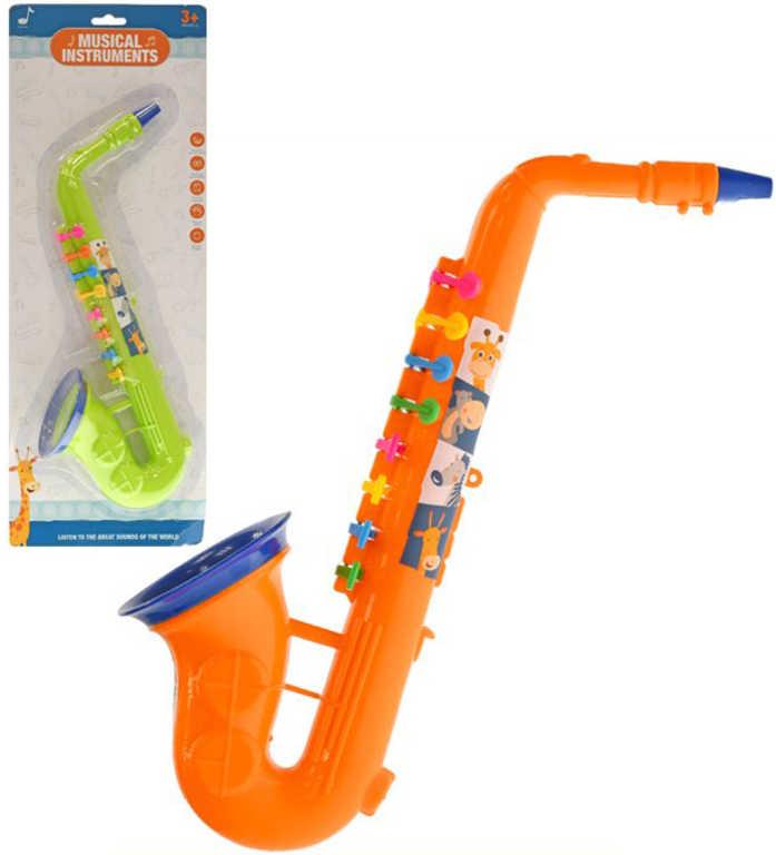 Saxofon dětský plastový 37cm 2 barvy v sáčku *HUDEBNÍ NÁSTROJE*