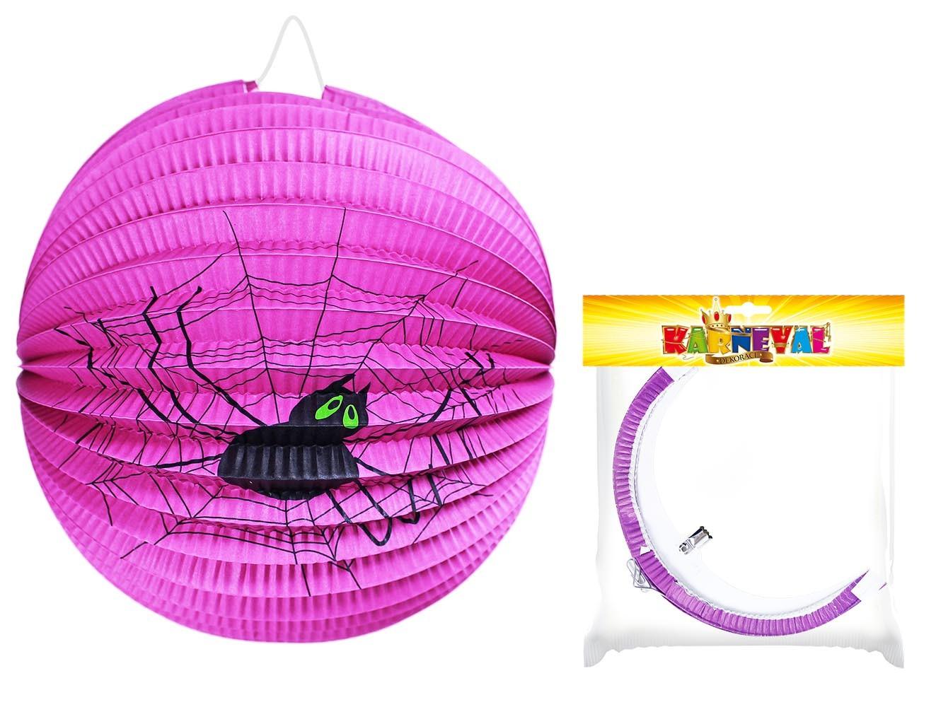 Lampion Halloween kulatý fialový - pavouk 25cm