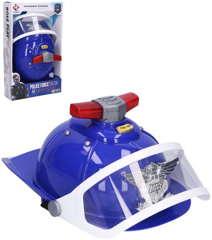 Přilba policejní helma modrá s efekty na baterie Světlo Zvuk plast