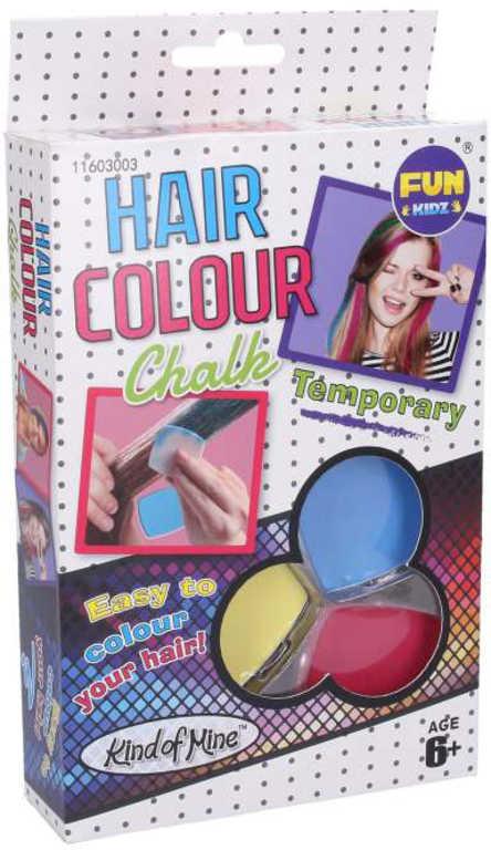 Křídy dětské barevné na vlasy set 3 barvy v krabici