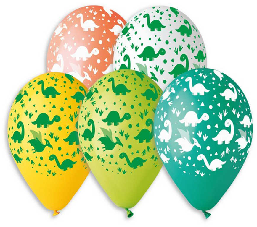 GEMAR Balónek nafukovací 30cm potisk DINO set 5ks různé barvy v sáčku