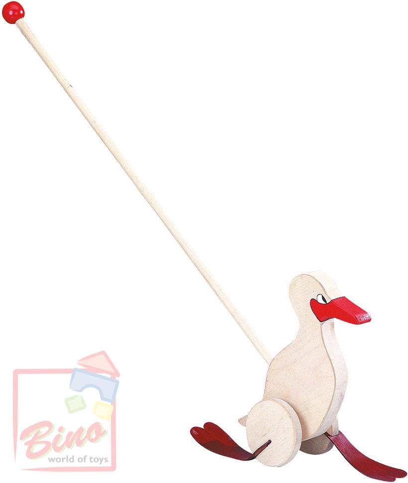 BINO DŘEVO Kachna na tyči červená * DŘEVĚNÉ HRAČKY *