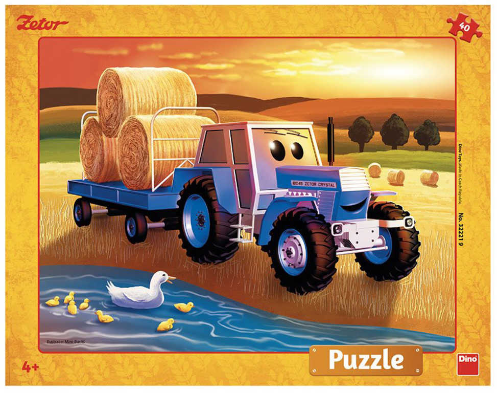 DINO Puzzle deskové 40 dílků Traktor ZETOR Žně skládačka 32x24cm