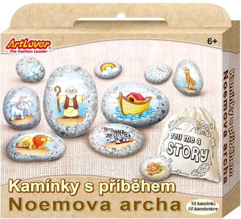 Kamínky s příběhem Noemova archa kreativní set s 10 kamínky