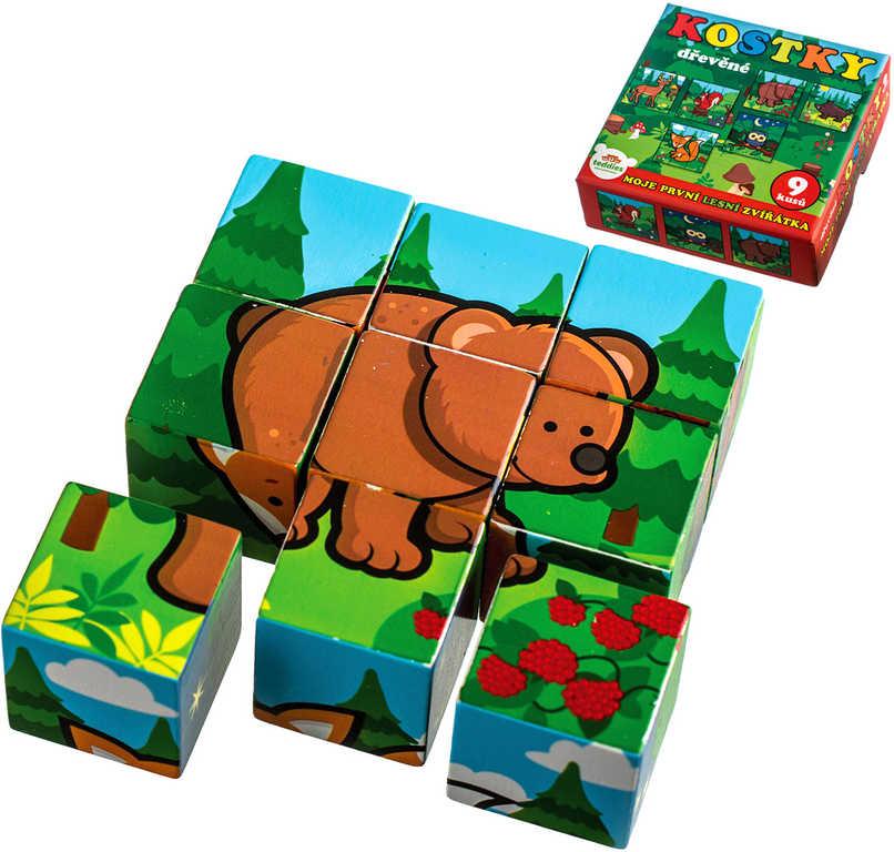 DŘEVO Kostky kubus dřevěné Moje první lesní zvířátka set 9ks v krabici