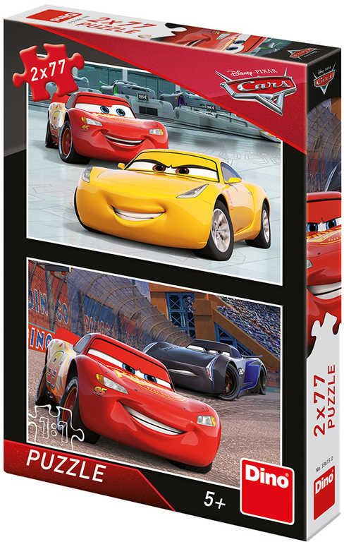 DINO Puzzle 2x77 dílků Závodníci Auta 3 (Cars) skládačka 26x18cm