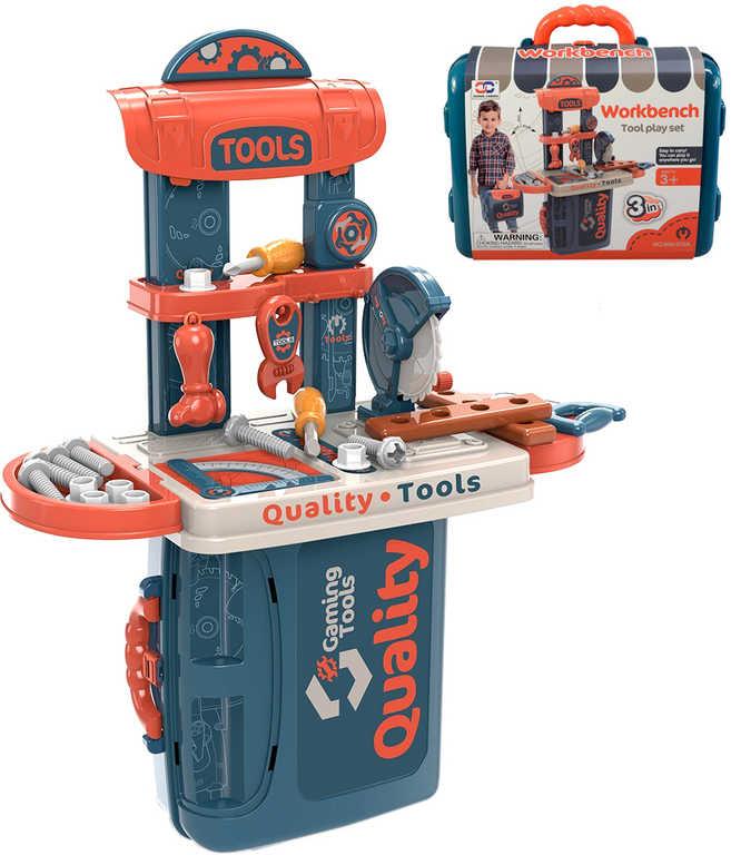 Pracovní stůl dětský ponk set s nářadím v kufříku 3v1 plast