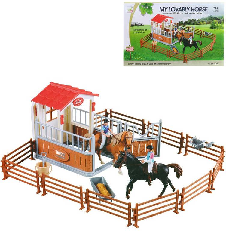 Stáj pro koně herní plastový set s figurkami a koníky v krabici