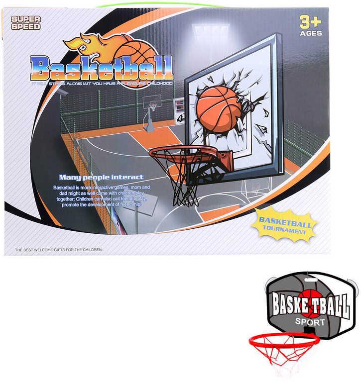 Koš basketbalový na desce na přísavku na košíkovou set s míčem a pumpičkou