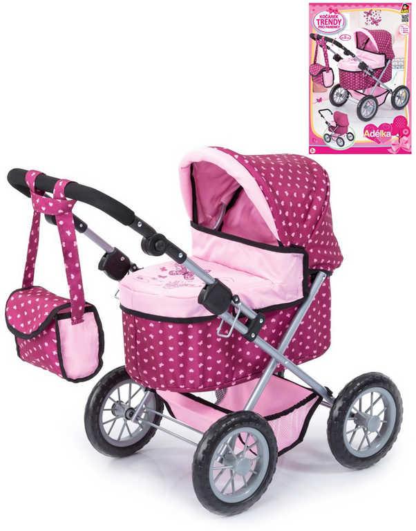 Kočárek trendy Adélka hluboký s taškou pro panenku miminko do 42cm