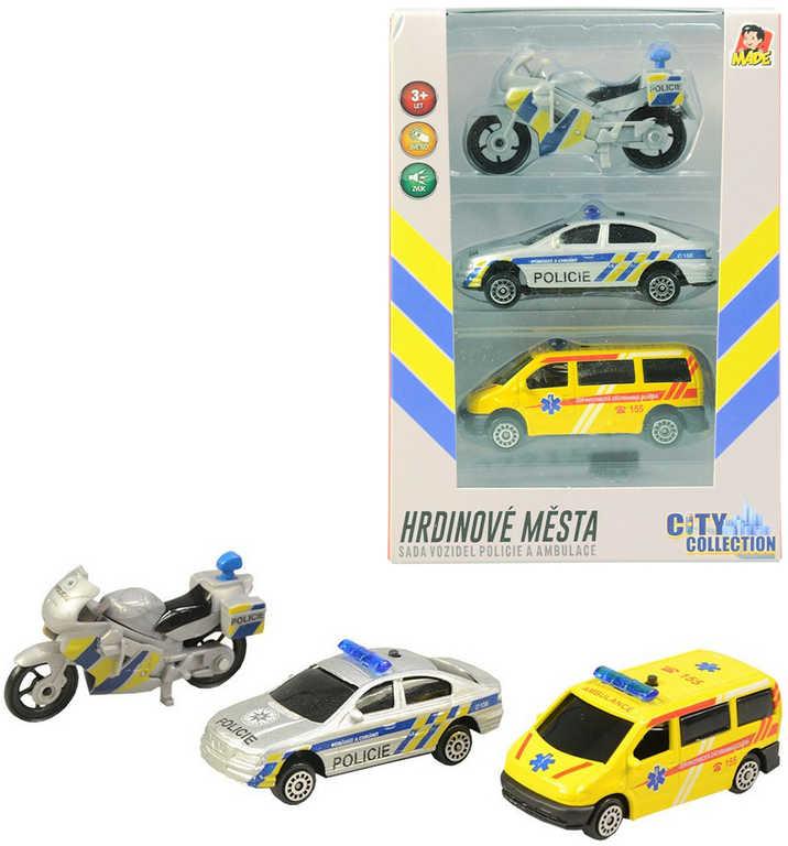 Záchranné složky set 2 auta s motocyklem CZ design na baterie Světlo Zvuk kov
