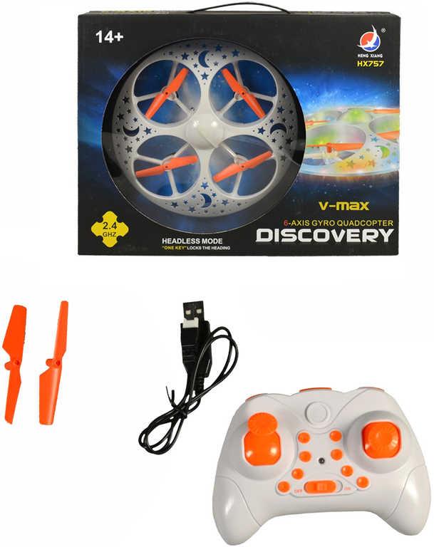 RC Dron 20cm na dálkové ovládání 2,4GHz USB na baterie s náhradními vrtulkami