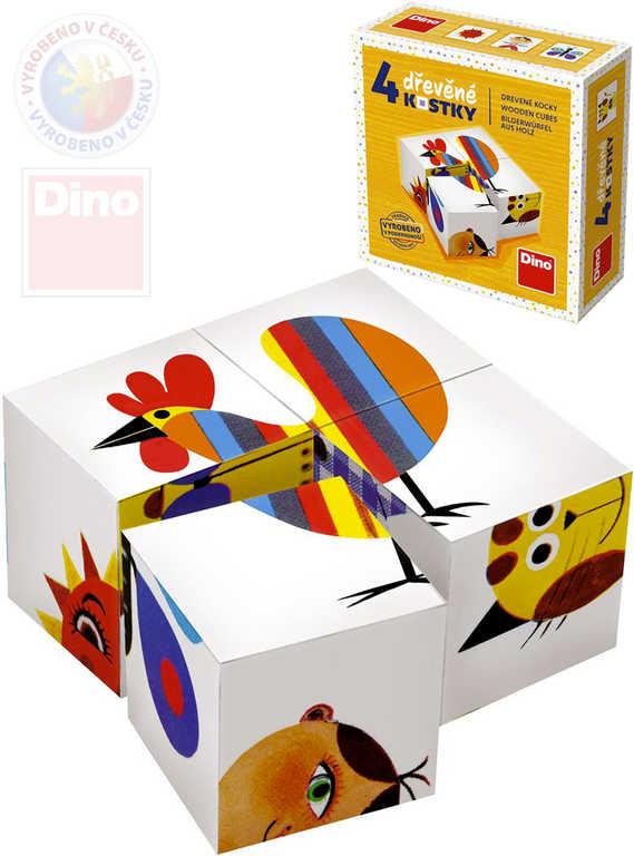 DINO DŘEVO Baby kubus set 4ks Zvířátka a děti obrázkové kostky pro miminko