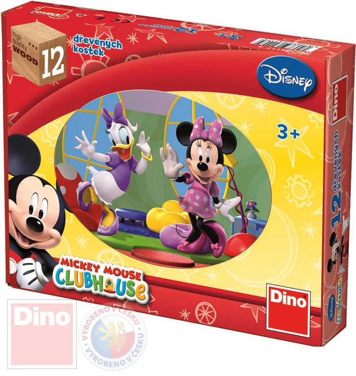 DINO DŘEVO Kostky obrázkové Mickey Mouse set 12ks kubus *DŘEVĚNÉ HRAČKY*