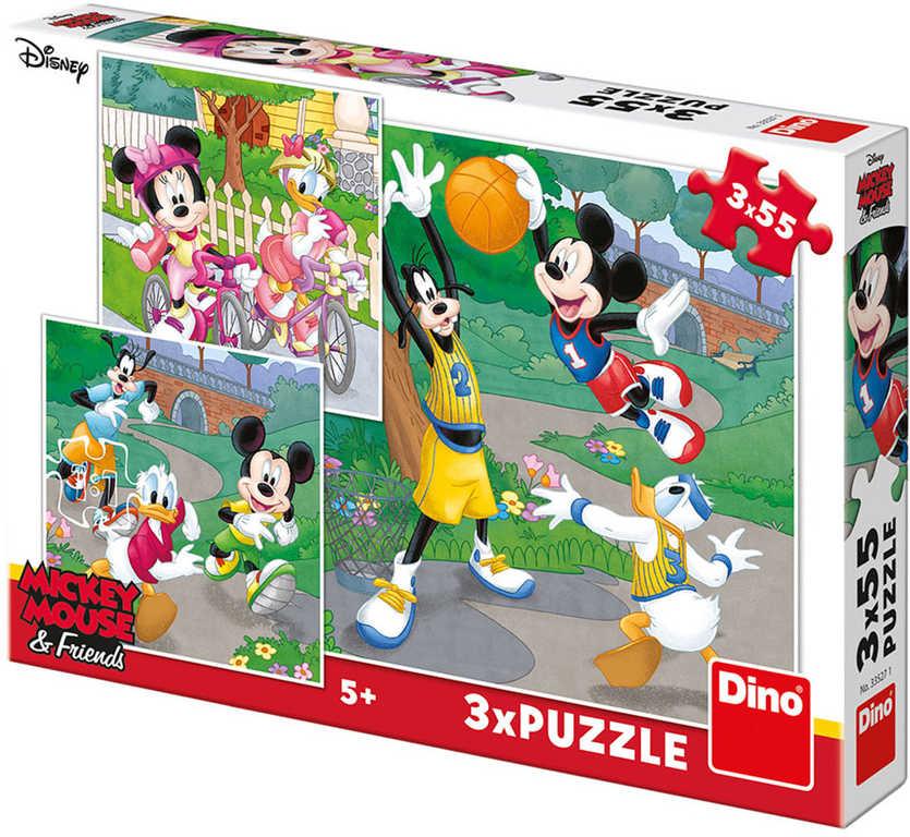 DINO Puzzle 3x55 dílků Mickey a Minnie sportovci 18x18cm skládačka 3v1