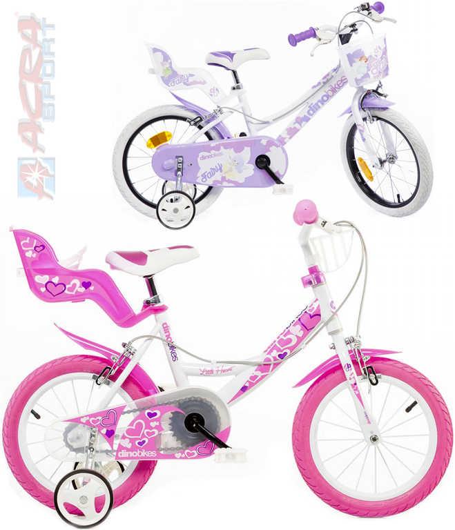 """ACRA Dětské kolo Dino 16""""s nosičem pro panenku dívčí 2 barvy"""