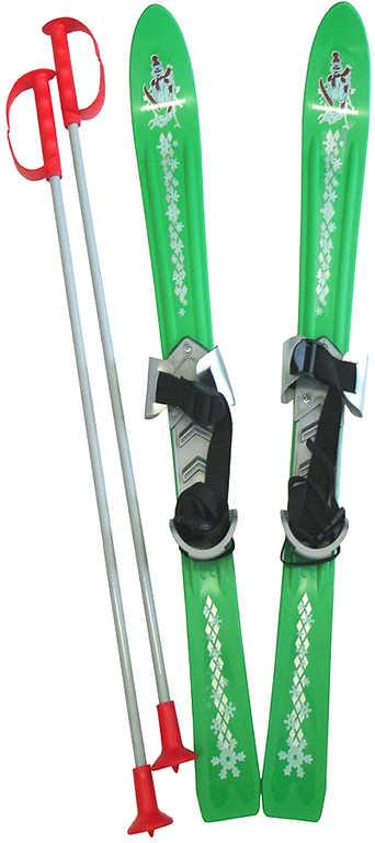 PLASTKON Lyže dětské Baby Ski 90cm carvingové Zelené s vázáním plast