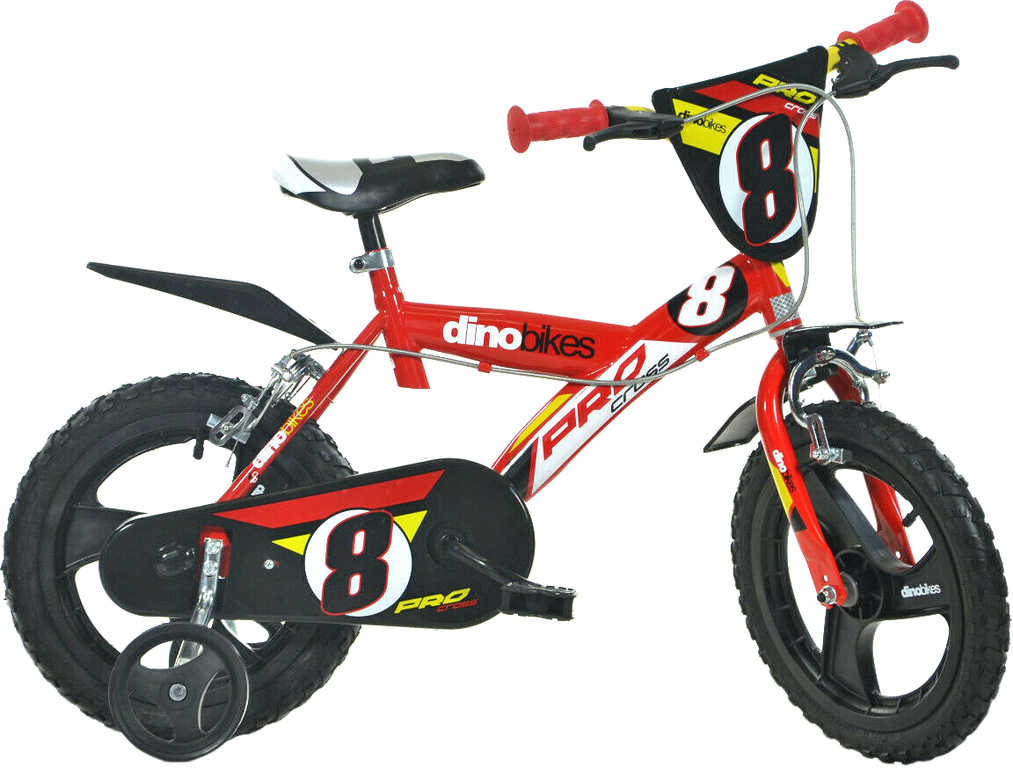 """ACRA Dětské kolo Dino Bikes 163GLN červené chlapecké 16"""" balanční kolečka"""